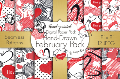 Hand-drawn February Digital Papers Pack