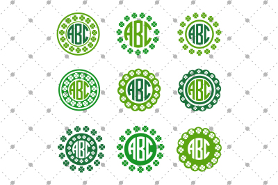 St. Patrick's Day SVG Monogram Frames files