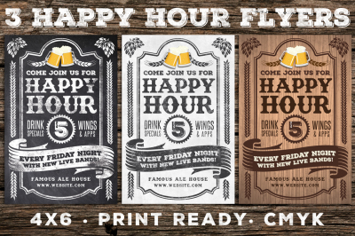 3 Vintage Happy Hour Flyers