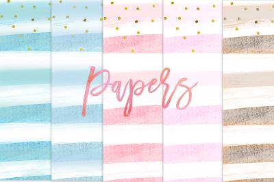Watercolor Stripes Digital Papers, Pastels paper 12x12