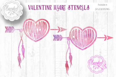 Heart Arrow Stencil Files - SVG/DXF/EPS/PNG