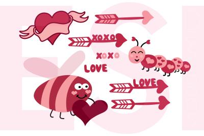Love Bug Designs Set - SVG, DXF, EPS, PNG