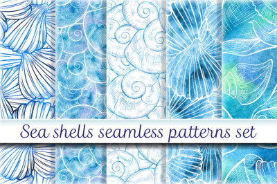 Sea shells seamless patterns set