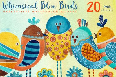 Whimsical Blue Birds