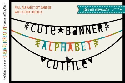 Cute Banner Alphabet - bunting garland alphabet letter banner - SVG DXF EPS - Silhouette & Cricut - clean cutting files