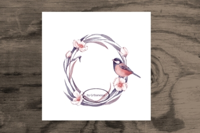 Floral Wreath and bird. Watercolor