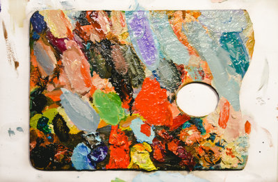 Colorful Palette with Oil Paints