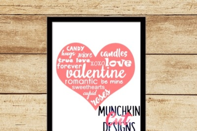 Valentine's Word Art Heart Cutting File