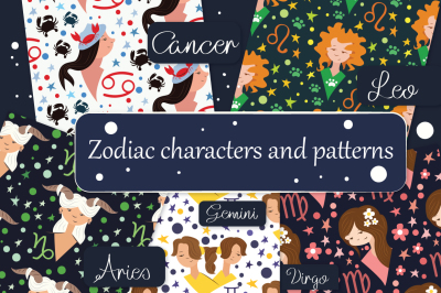 Big  set of 24 patterns and 13 zodiac characters