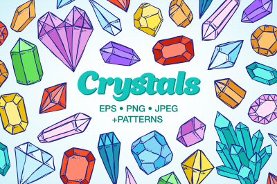Crystals sketch illustrations
