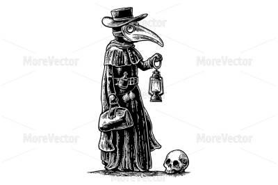 Plague doctor with bird mask