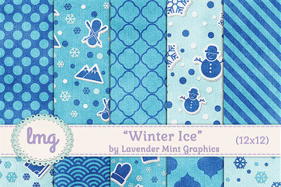 Winter Ice Digital Paper Backgrounds