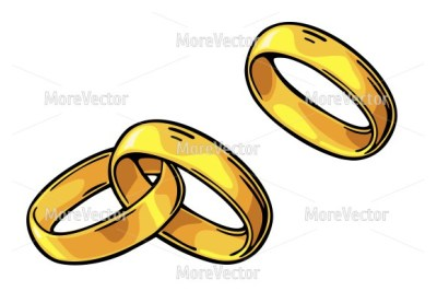 Golden wedding and sigle rings