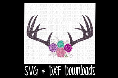 Floral Antlers SVG * Antique Flowers * Deer Antler SVG Cut File