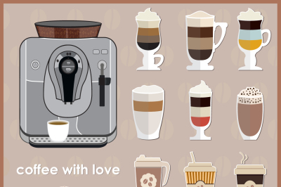 Coffee machine and Coffee Icon Set.