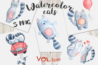 Watercolor cats clipArt. Vol.2