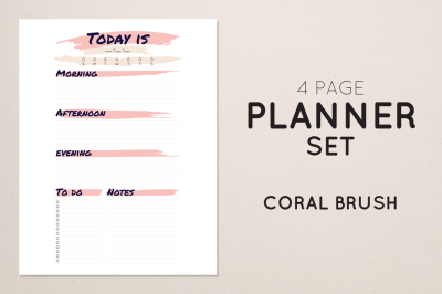 Planner Set - Coral Brush