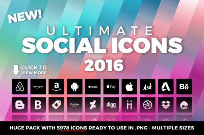 Ultimate Social Icons Flat Pack 2016