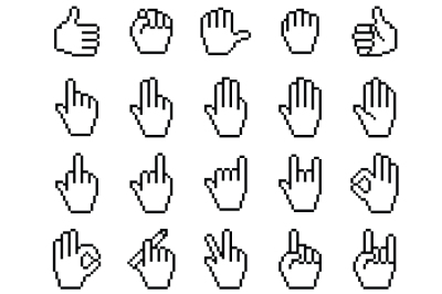 Set of pixelated hand icons