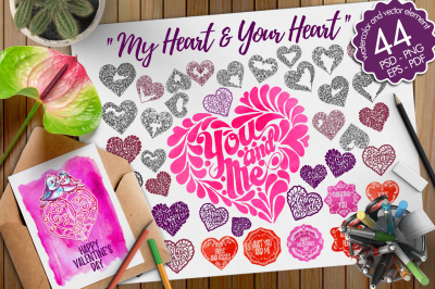 watercolor and vector of heart
