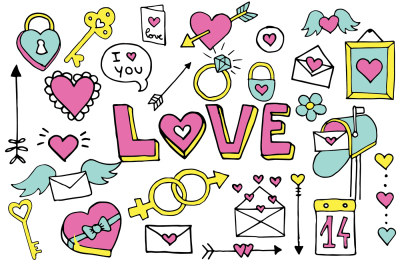 Valentines Doodle Clipart Set Vector Heart Hand Drawn