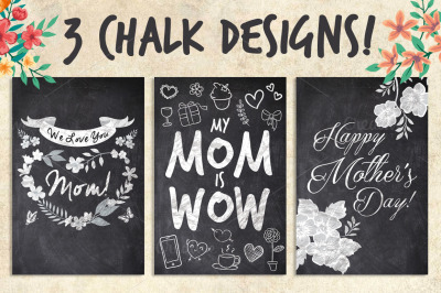 3 Chalk Mother Lover Mother's Day Cards