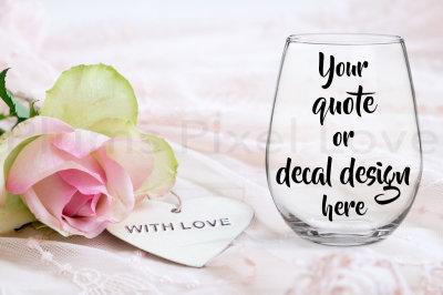 Pretty styled stemless wine glass mockup