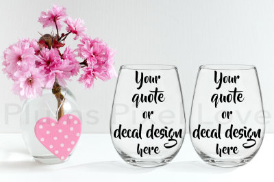 Pretty styled mockup of 2 stemless wine glasses