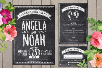 Chalk Wedding Invite Bundle