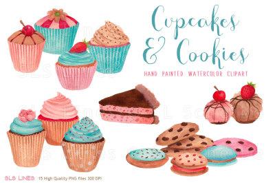 Cupcakes & Cookies Watercolors