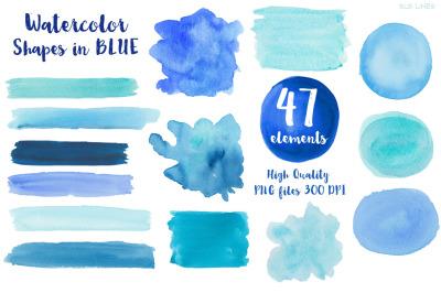 Blue Watercolor Balls & Shapes
