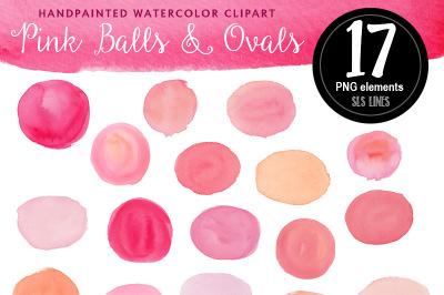 Pink Watercolor Balls & Ovals