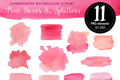 Pink Watercolor Boxes & Splatters
