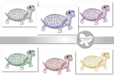 A picture of a turtle with ornament, sketch by hand of a ballpoint pen. The archive contains 6 JPEG 300 dpi on white background 6 PNG transparent.