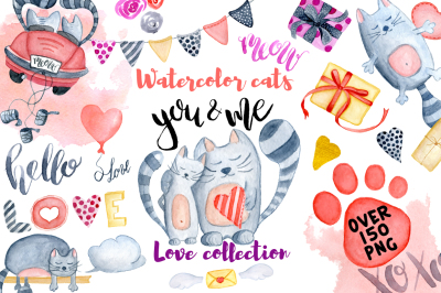Watercolor Valentines day cats. Huge love watercolor collection