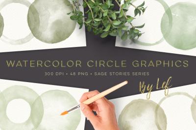Round Watercolor graphics Handpainted