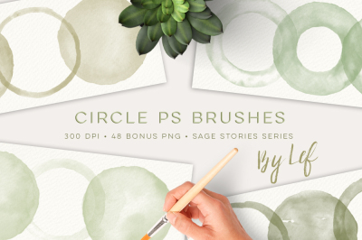 Watercolor Photoshop Brushes Round Blobs and Rings