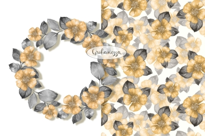 Yellow Floral wreath and pattern