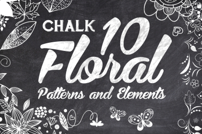 10 Chalk Floral Pattern Elements