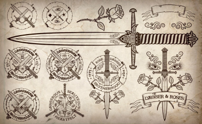 Dagger and Rose vintage logos