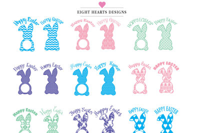 Easter Bunny Monogram - Bundle of 12 Bunnies differnt colours. Tshirt Mug Tile Easter Basket