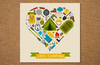 Love Camping Heart Card