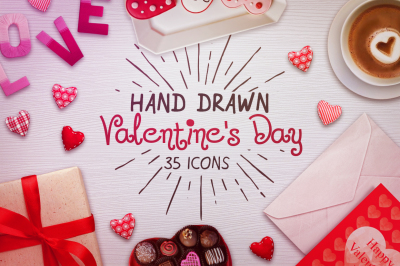 Valentine's Day icons Hand Drawn