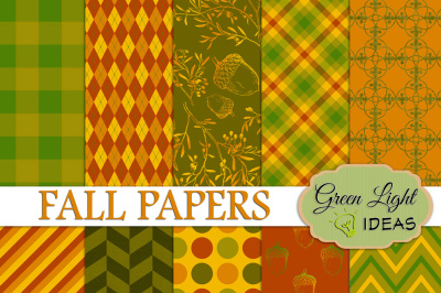 Fall Digital Papers, Thanksgiving Backgrounds