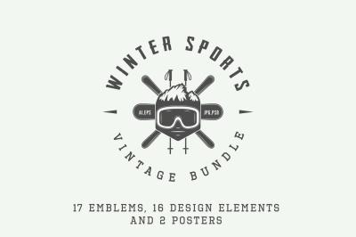 Set of vintage winter sports emblems