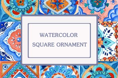 watercolor square ornament