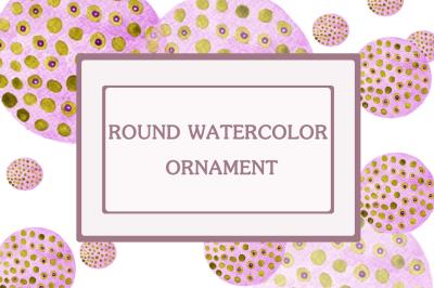 watercolor round ornament