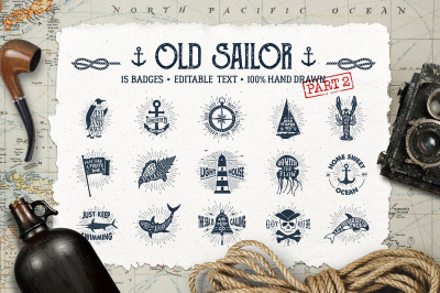Old Sailor. Vintage Badges. Vol.2