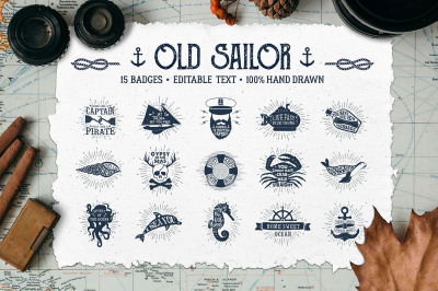 Old Sailor. Vintage Badges. Vol.1