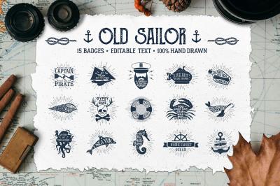 Old Sailor. Vintage Badges. Vol.1